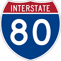 Illustration of Interstate I-80 Sign