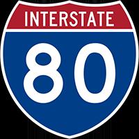 Illustration of Interstate I-80 Sign